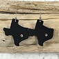 Black Texas Leather Earrings with Clear stones