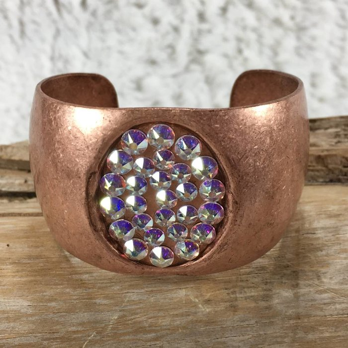 Copper Bracelet with AB Swarovski Crystal Oval