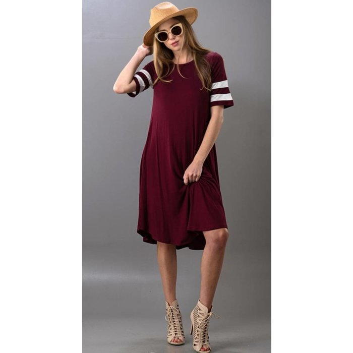 Solid Varsity Stripe Jersey Swing Dress