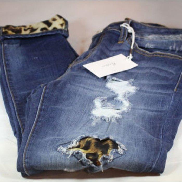 Leopard Patch Skinny Denim Jeans