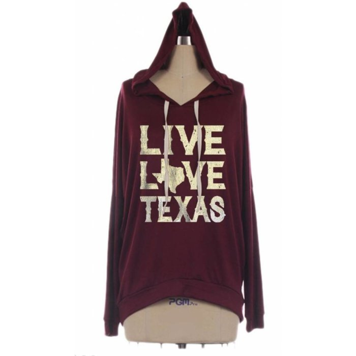 Live Love Texas Hoodie Silver