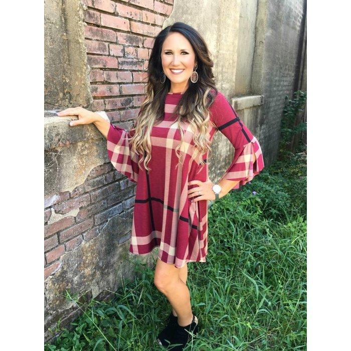 Burgundy Plaid Bell Sleeve Dress