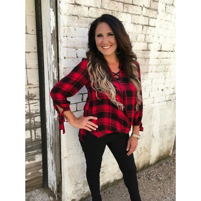 Red & Black Plaid Twist Front Top