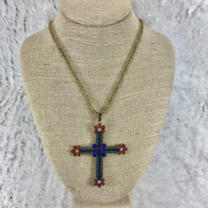 Bali Style Beaded Cross Necklace