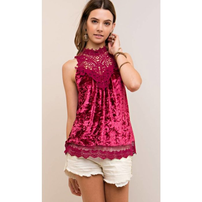 Burgundy Velvet Lace Mock Neck Top