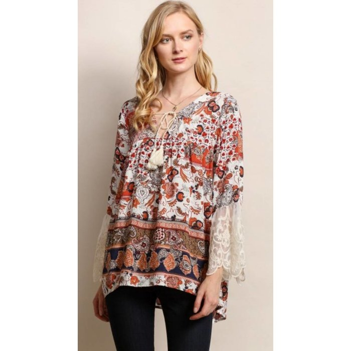 Rust Floral Print with Lace Top