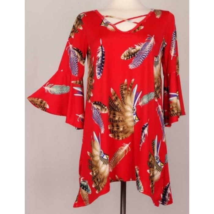 Plus Feather Bell Sleeve Top - RED