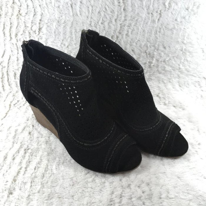 Sharon Black Wedge Peep Toe Shoe