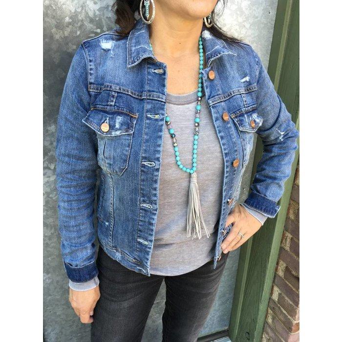 Alissa Kenney Jean Distressed Jean Jacket