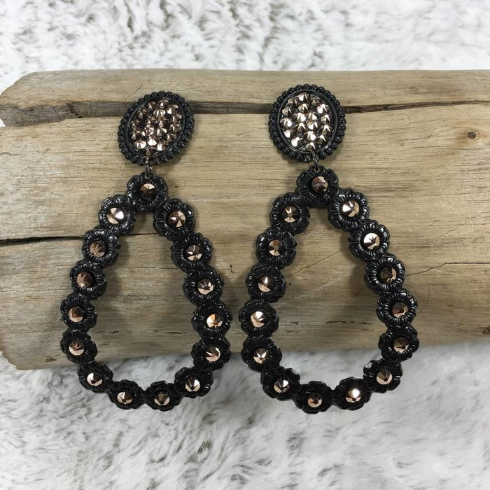 Oval Post Open Teardrop Black Earrings w/ Rose Gold Crystals