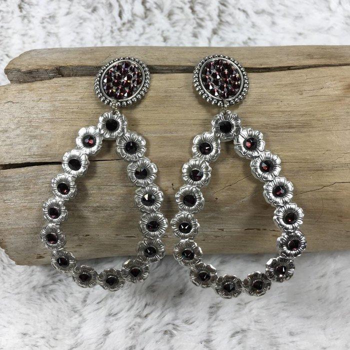 Oval Post Open Teardrop Silver Earrings w/ Maroon Crystals