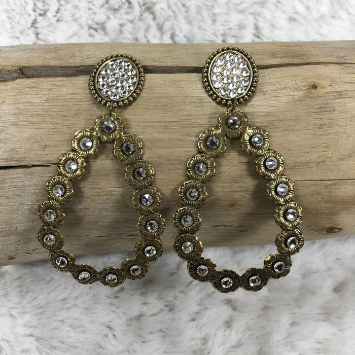 Oval Post Open Teardrop Bronze Earrings w/ CLEAR Crystals