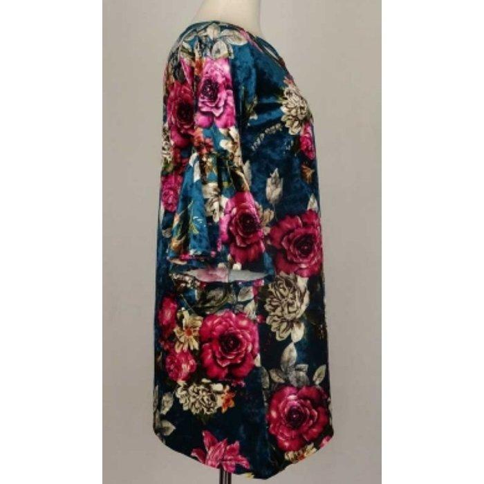 Velvet Teal Floral Bell Sleeve Tunic