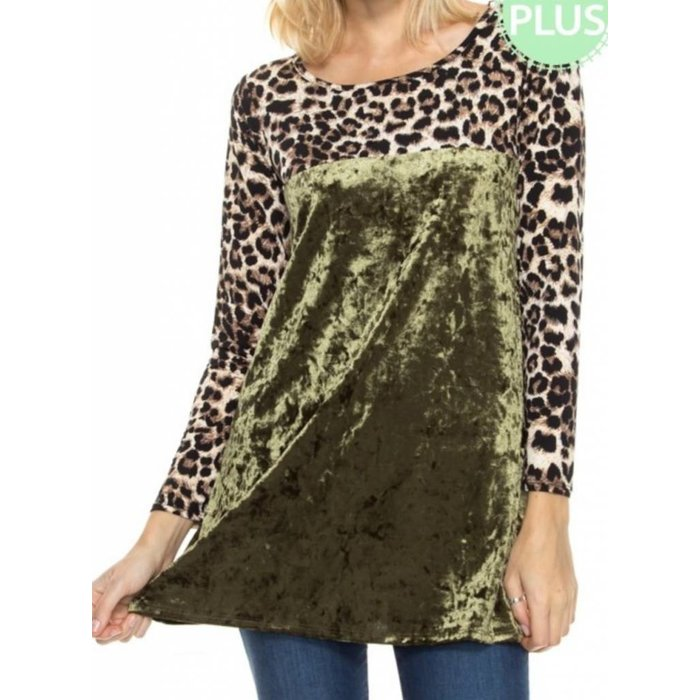 Leopard Crushed Velvet Tunic PLUS - OLIVE