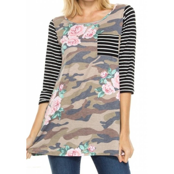 Camo Floral Black Stripe Tunic - PLUS