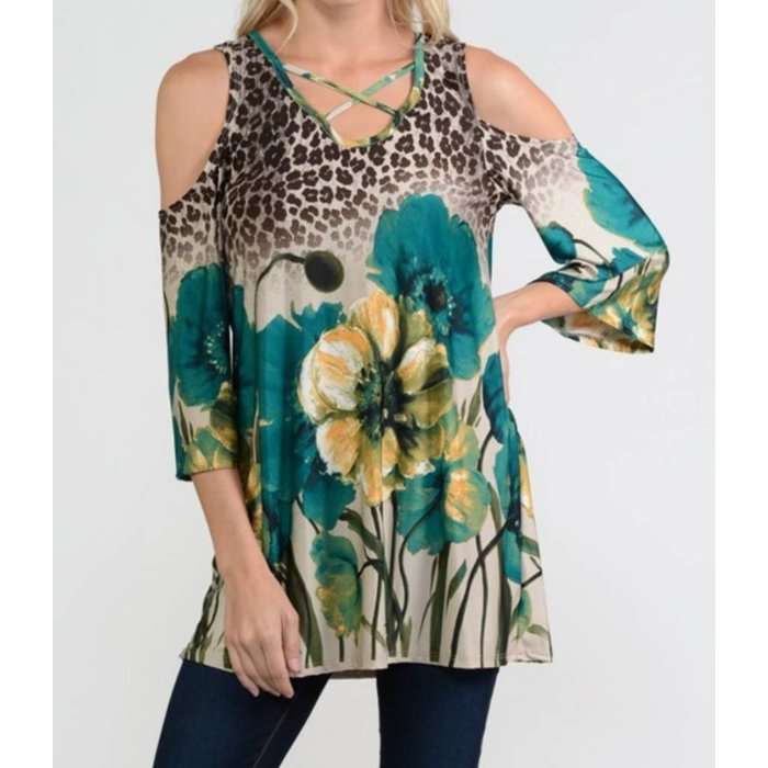 Teal Leopard Print Open Shoulder Top