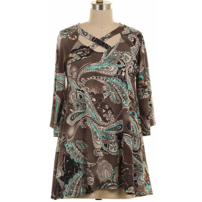 Criss Cross Paisley Grey Tunic