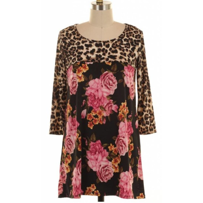Leopard Floral Print Tunic