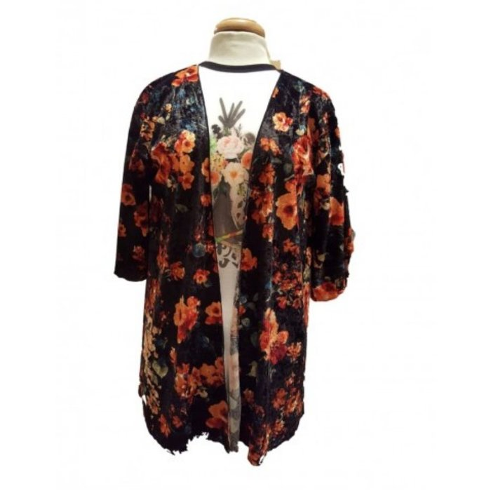 Crushed Velvet Floral Kimono