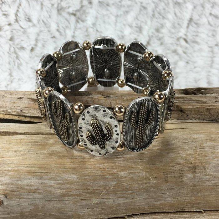 Silver & Gold Cactus Stretch Bracelet