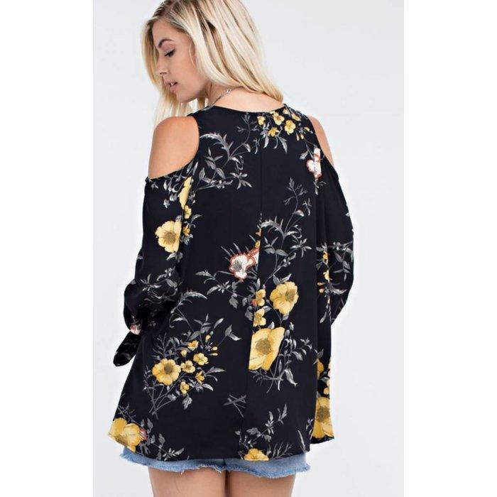 Floral Woven Cold Shoulder Top - BLACK