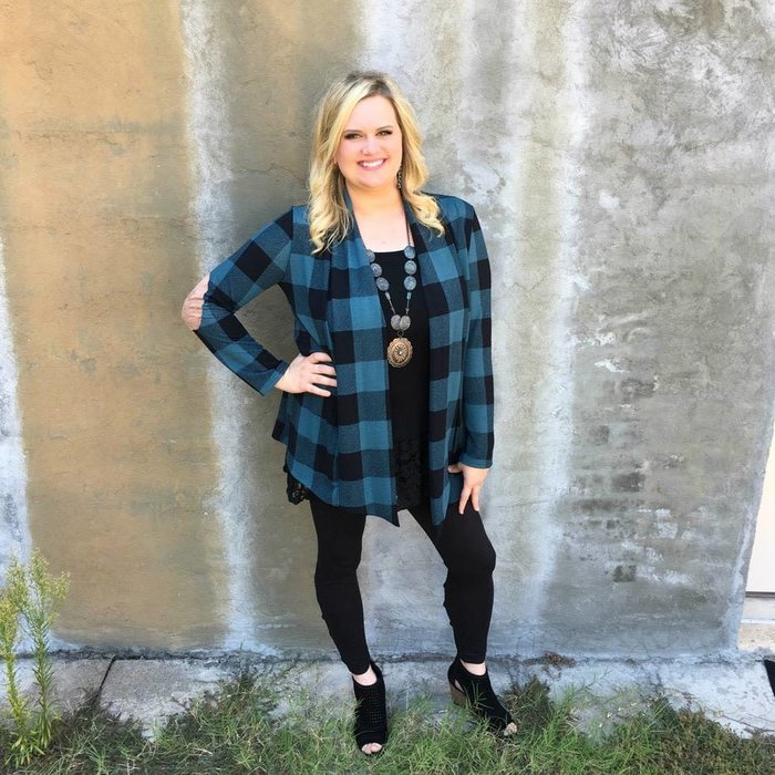 Teal Plaid Knit Cardigan with Elbow Patches