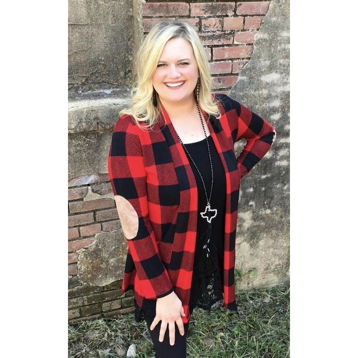 Red Plaid Knit Cardigan with Elbow Patches