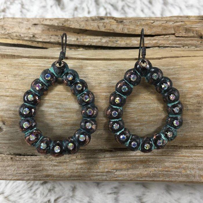 Pewter Mini Teardrop AB Crystal Earrings