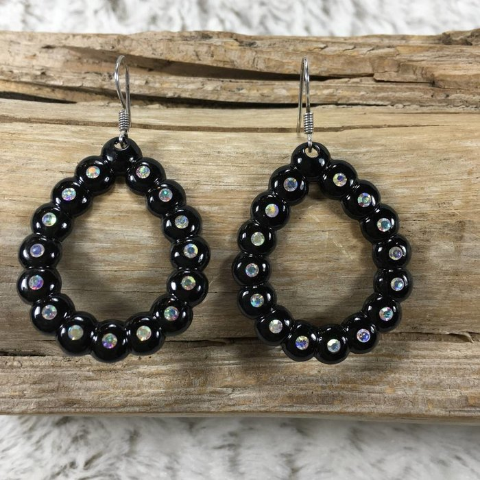 Black Teardrop AB Crystal Earrings