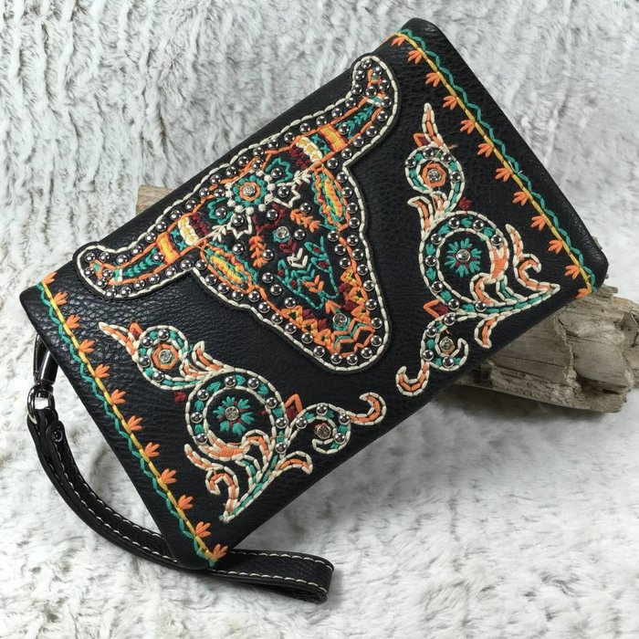 Bull Embroidered Western Clutch/Crossbody Bag
