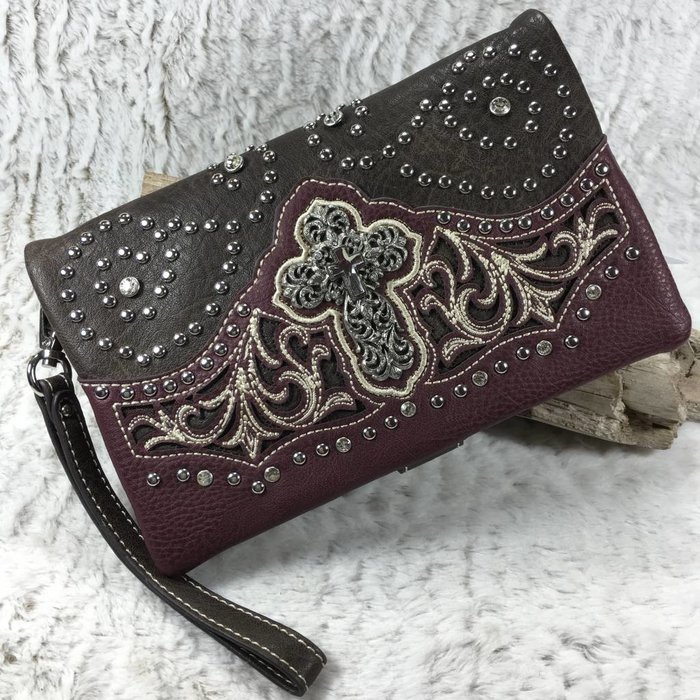 Cross Burgundy Western Clutch/Crossbody Bag