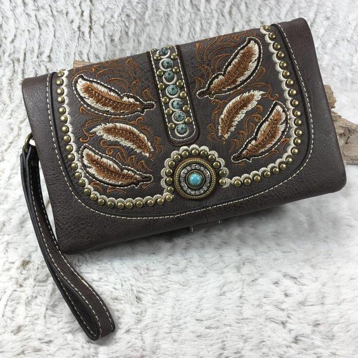 Brown Feather Western Clutch/Crossbody Bag