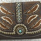 Brown Feather Western Clutch/Crossbody Bag