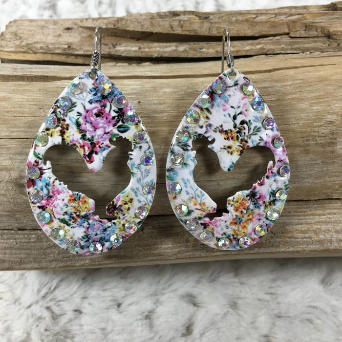 Rooster Floral AB Oval Cut Out Earrings