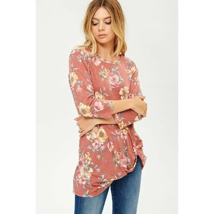 Floral Twist Tie 3/4 Sleeve Top - RUST