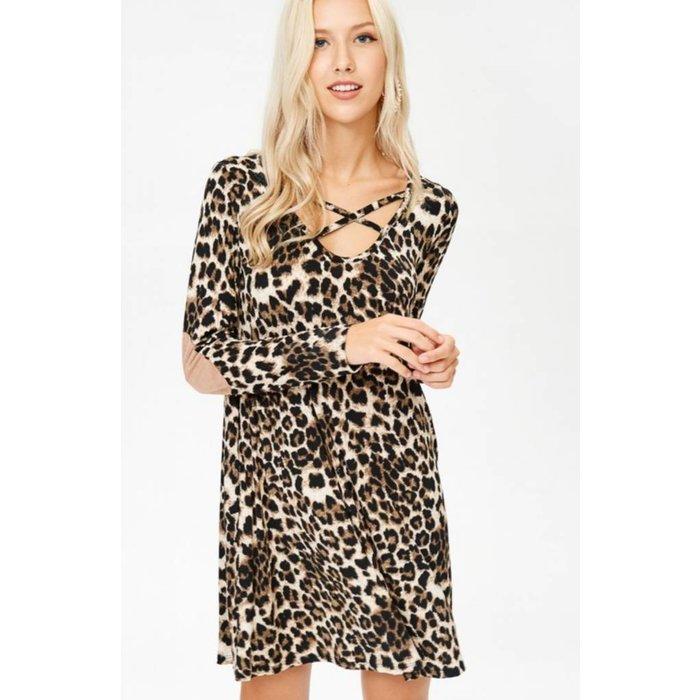 Leopard  Long Sleeve Criss Cross Dress