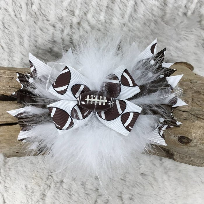 Football Bow with Ostrich Feathers