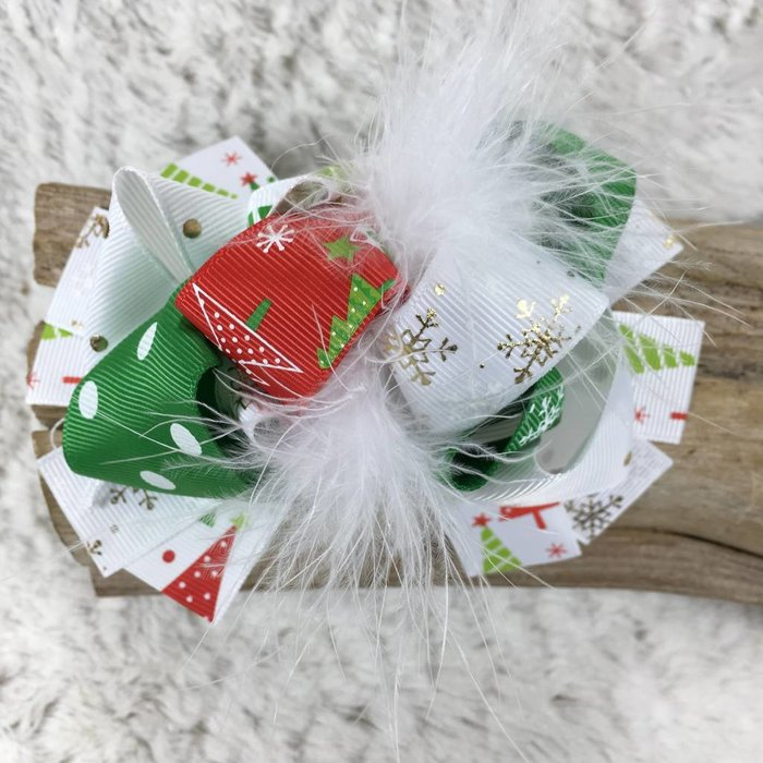 Christmas Tree Bow with Ostrich Feather
