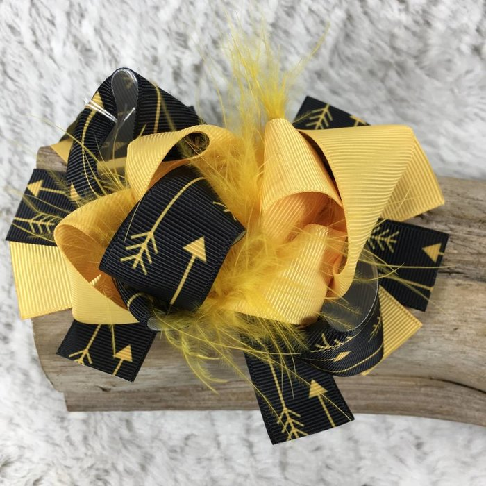 Yellow and Black Arrow Bow with Ostrich Feathers