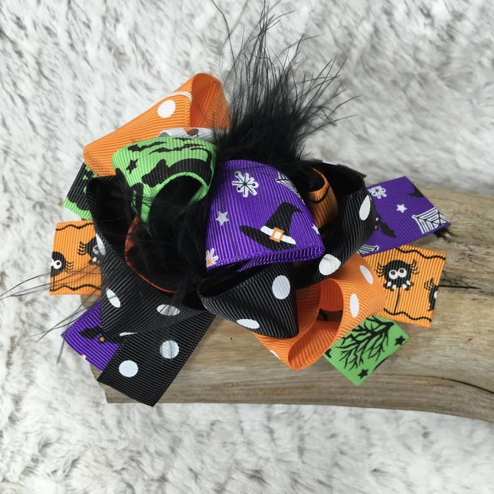 Halloween Bow with Black Ostrich Feathers