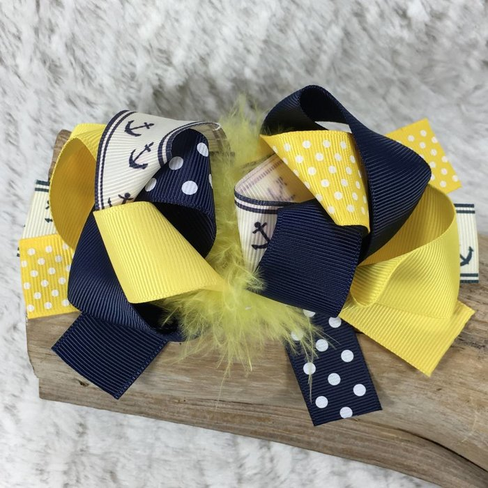 Yellow and Navy Anchor Bow with Ostrich Feathers