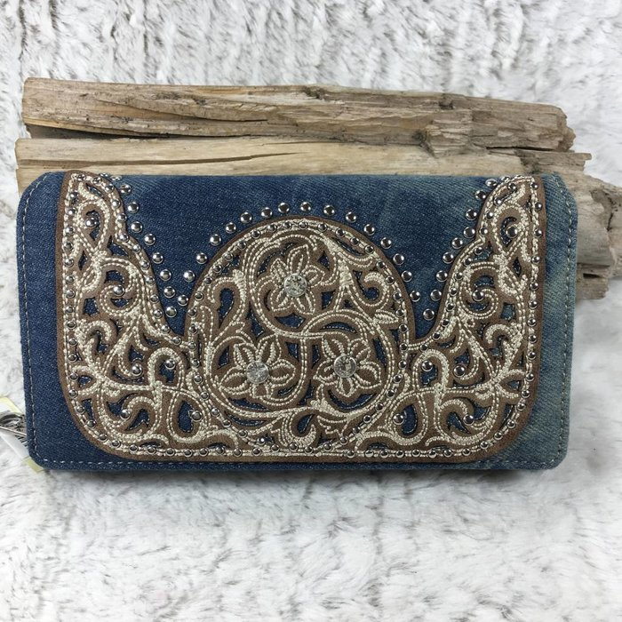 Denim Tooled Wallet