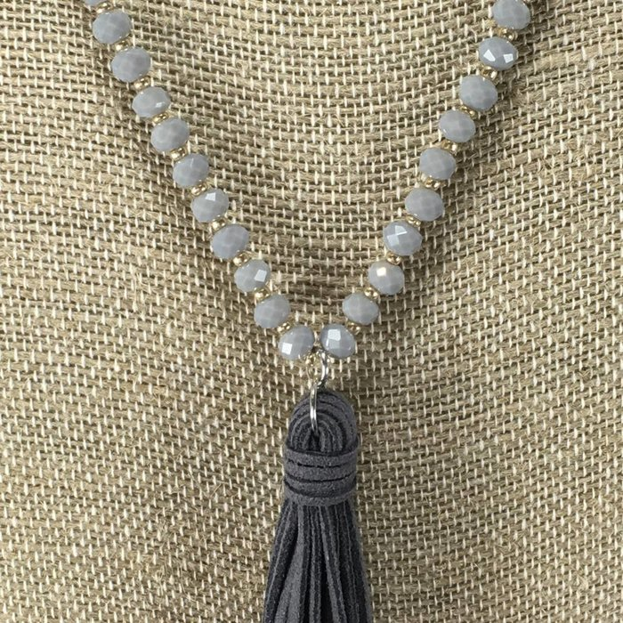 Long Crystal Tassel Necklace Set