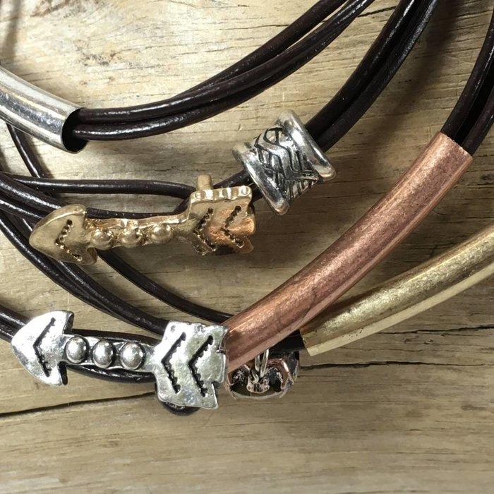 Arrow Leather Wrap Bracelet - Silver