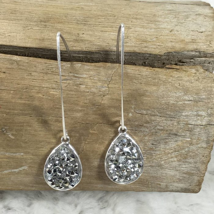 Small Silver Bling Teardrop Long Wire