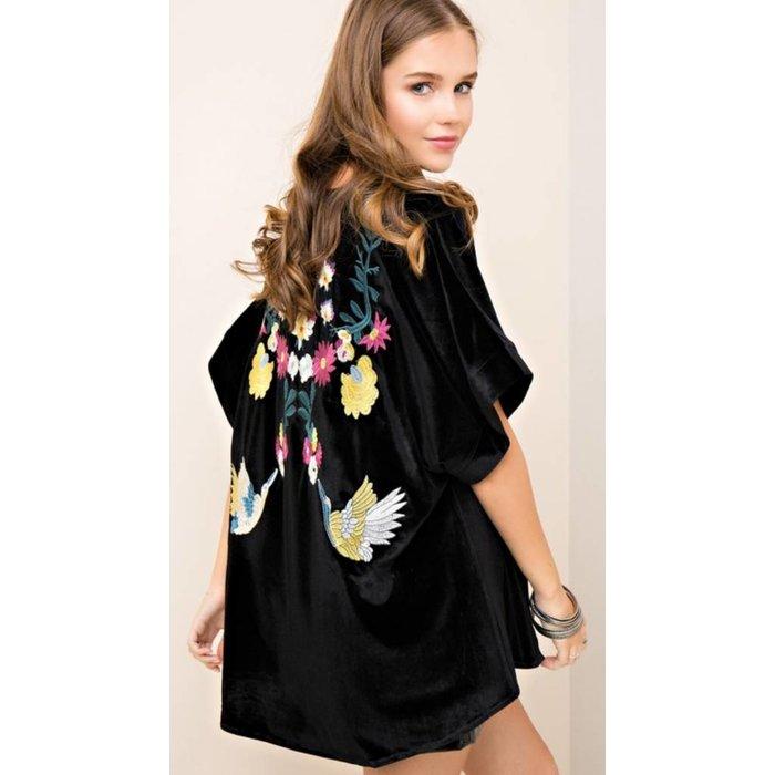 Embroidered Velvet Kimono - Black
