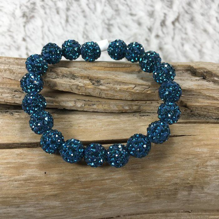Crystal Beaded Bracelet - Teal