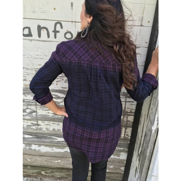 Keira Roll Sleeve Shirt  - Eggplant