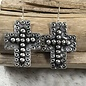 Large Silver Hammered Cross Earring