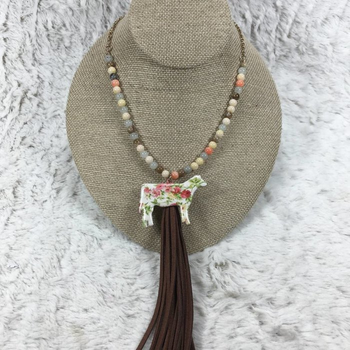 Floral Cow Tassel Necklace - Cream
